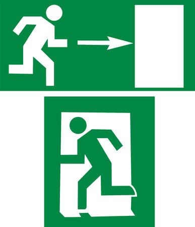 salida de emergencia: se�al de salida  Vectores