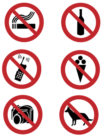 ban signs on smoking, drinking, pets, shooting, food, phone calling Stock Vector - 2672881