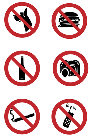 prohibition: ban signs on smoking, drinking, pets, shooting, food, phone-calling