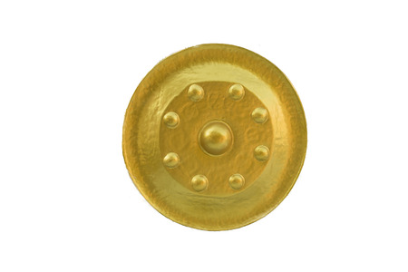 Golden gong on white background
