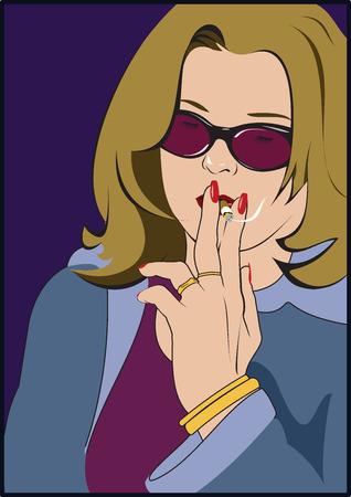 woman smoking: Young woman smoking cigarette Illustration