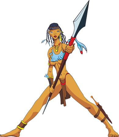 Amazonas con una lanza.