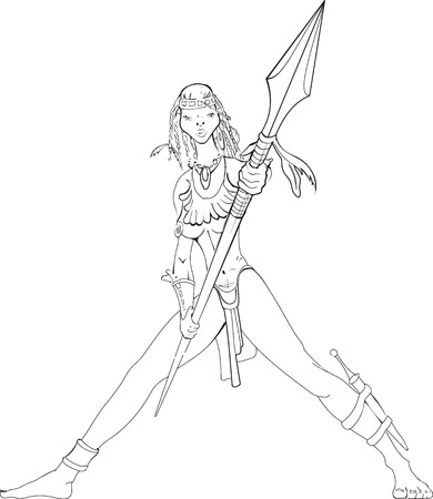 sexy army: Vector illustration of a woman with spear