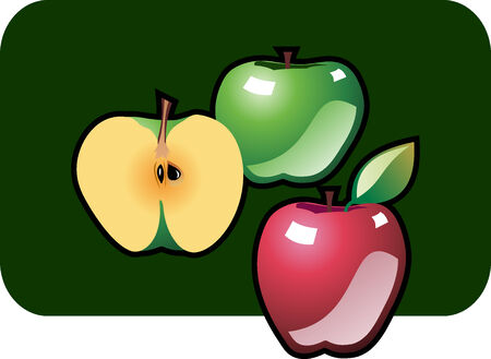 fare: Stylized icon of three apples