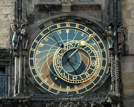 sinners: The famous Astronomical Clock in Prague, Czech Republic Stock Photo