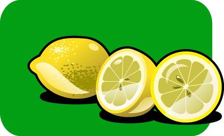 Vector color illustration of a lemon.  Illustration
