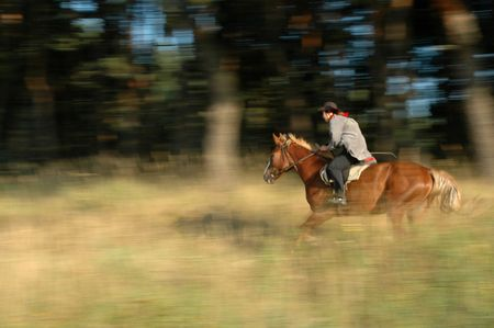 A man riding horse at the grassland in Ukraine.