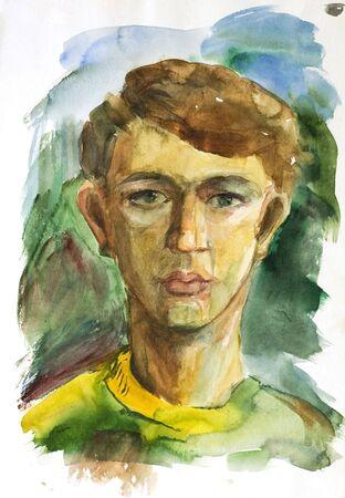aquarel: Pencil drawings of boy.  Stock Photo