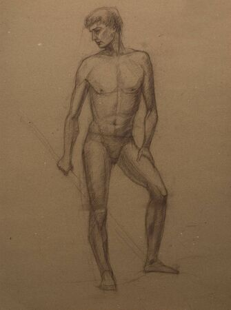 dhoti: drawings of   man portrait.  Academical art. I am the author of this drawing.