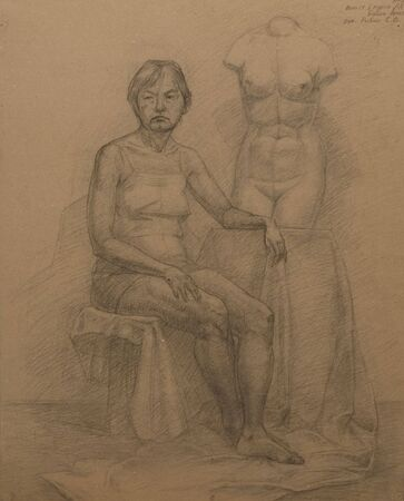 old woman and torso Venus.  Academical art. I am the author of this drawing.  photo