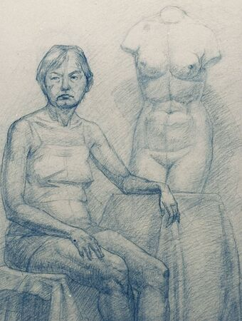 female likeness: old woman and torso Venus.  Academical art. I am the author of this drawing.