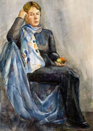 watercolor portrait of a woman. Zdjęcie Seryjne - 3288253