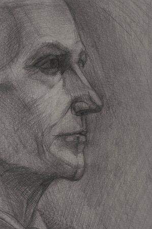 caucasian: Pencil drawings of  grandfather.   Stock Photo