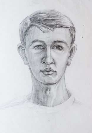 Pencil drawings of guy.   photo