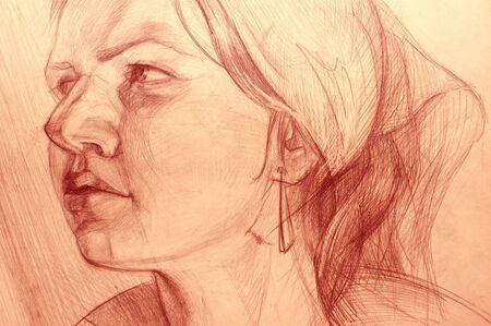 Pencil drawings of  girl photo