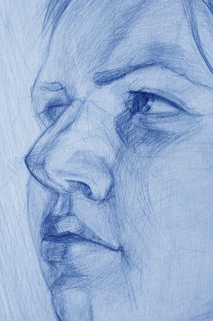 disegni a matita: Disegni di matita ragazzina Archivio Fotografico