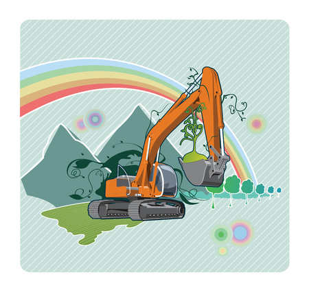 earthmoving: Vector color illustration of a excavator. The vector file is in AI-EPS8 format. Illustration