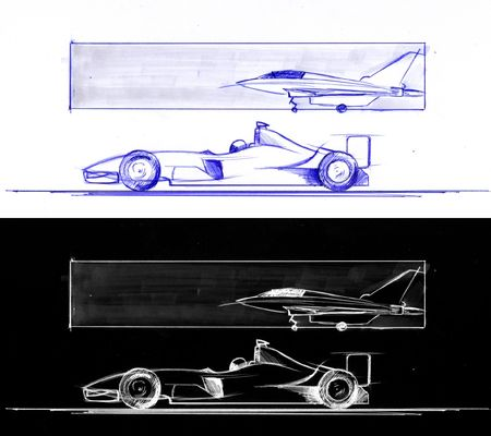 supersonic: Formula 1 and supersonic airplane.