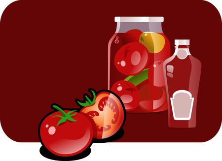 salsa de tomate: Ilustraci�n vectorial de un tomate, salsa de tomate y el cierre temporal abajo. Vectores
