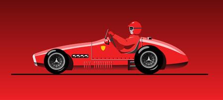 vector illustration of retro formula 1 racing car Ferari F-500 (1953) Ilustracja