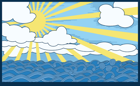scene with sea, clouds and sun. A Vector . 8 illustration Vector