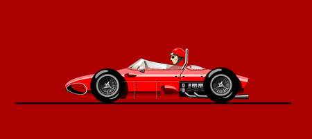 "vector illustration of retro formula 1 racing car Ferari F- 156, ""Sharknose"", 1961"