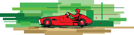 impression: vector impression illustration of retro racing car, 1950�s