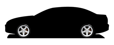A Vector . 8 illustration of car rims and silhouette of car Vector