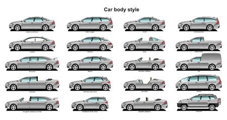 벡터. 자동차 바디 스타일의 8 그림입니다.
