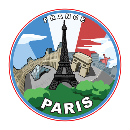Illustration based on the city of Paris.  Vector