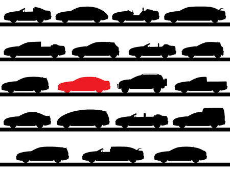silhouettes of cars Vector