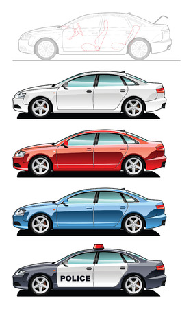 A Vector . 8 illustration of cars. (Simple gradients only - no gradient mesh.) Vector