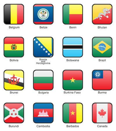 burmese: Flag icon set (part 2) Belgium, Belize, Benin, Bhutan, Bolivia, Bosnia and Herzegovina, Botswana, Brazil, Brunei, Bulgaria, Burkina Faso, Burma, Burundi, Cambodia, Cameroon, Canada