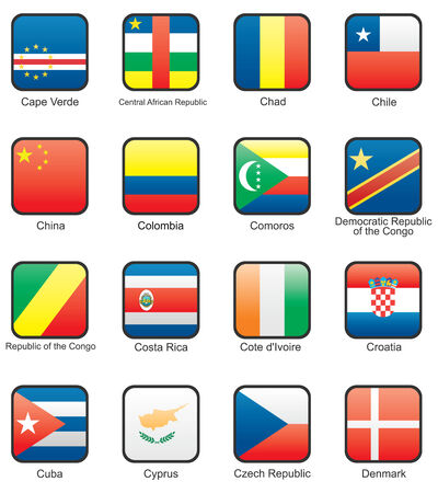 cuban flag: Flag icon set (part 3) Cape Verde, Central African Republic, Chad, Chile, China, Columbia, Democratic republic of the Congo, Republic of the Congo, Costa Rica, Cote d`Ivoire, Croatia, Cuba, Cyprus, Czechia, Denmark,  Illustration