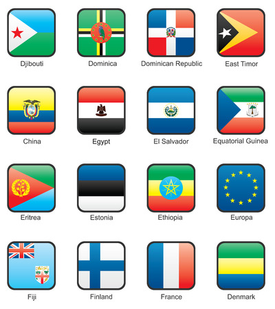 Flag icon set (part 4) Djibouti, Dominica, Dominican Republic, East Timor, Ecuador, Egypt, El Salvador, Equatorial Guinea, Eritrea, Estonia, Ethiopia, European Union, Fiji, Finland, France Vector