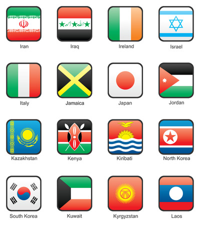 Flag icon set (part 6) Iran, Iraq, Ireland, Israel, Italy, Jamaica, Japan, Jordan, Kazakhstan, Kenya, Kiribati, North Korea, South Korea, Kuwait, Kyrgyzstan, Laos Vector