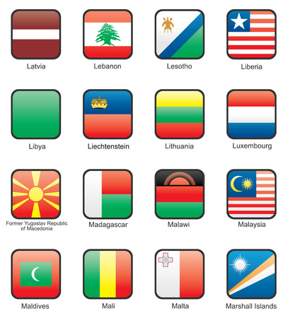 Flag icon set (part 7) Latvia, Lebanon, Lesotho, Liberia, Libya, Liechtenstein, Lithuania, Luxemburg, Macedonia, Madagascar, Malawi, Malaysia, Maldives, Mali, Malta, Marshall Islands Vector