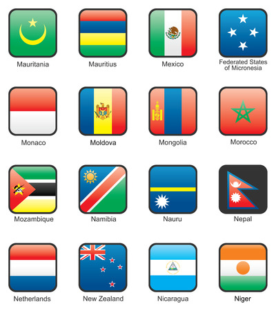 Flag icon set (part 8)  Mauritania, Mauritius, Mexico, Federated States of Micronesia, Monaco, Moldova, Mongolia, Morocco, Mozambique, Namibia, Nauru, Nepal, Netherlands, New Zealand, Nicaragua, Niger Vector
