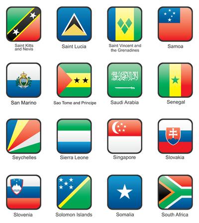 Flag icon set (part 10) Saint Kitts and Nevis, Saint Lucia, Saint Vincent and the Grenadines, Samoa, San Marino, Sao Tome and Principe,  Saudi Arabia, Senegal, Seychelles, Sierra Leone,  Singapore, Slovakia, Qatar, Solomon islands, Somalia, South Africa