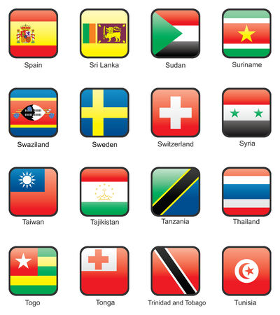 tajikistan: Flag icon set (part 11)  Spain, Sri Lanka, Sudan, Surinam, Swaziland, Sweden, Switzerland, Syria, Taiwan, Tajikistan, Tanzania, Thailand, Togo, Tonga, Trinidad and Tobago, Tunisia  Illustration