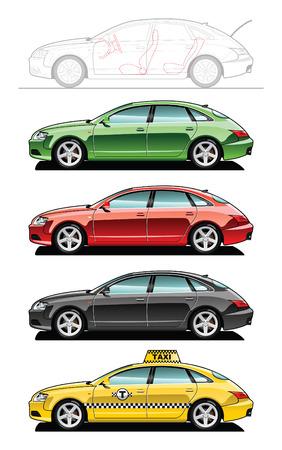 Fastback, taxi  Ilustracja
