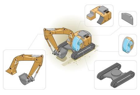 equipos trabajo: ilustraci�n isom�trica de una excavadora y sus componentes de