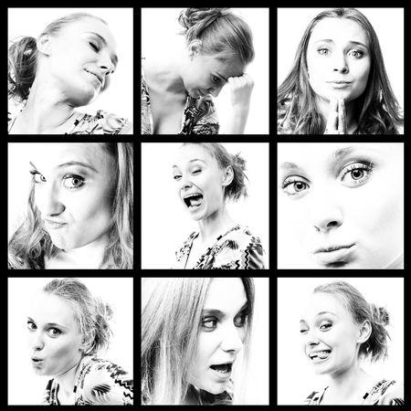 gezichts uitdrukkingen:  collectie van portretten van verschillende gezichtsuitdrukkingen Stockfoto