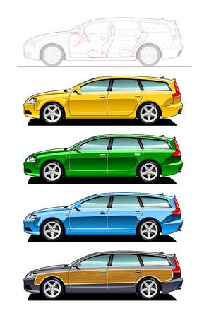 motor de carro: Station wagon-parte de mis colecciones de estilo de la carrocer�a de coche. No malla de simples degradados s�lo - degradado