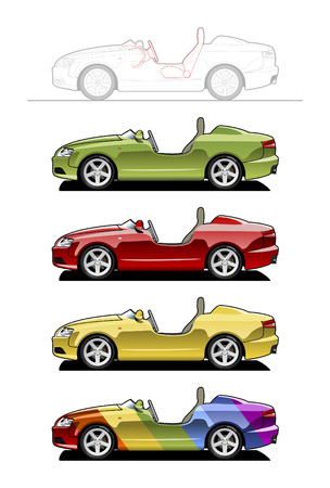draught: Roadster (barchetta) . part of my collections  of Car body style. Simple gradients only - no gradient mesh Illustration