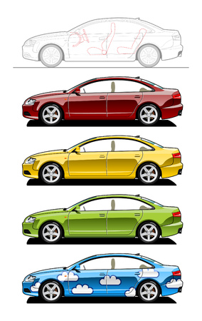 Hardtop. part of my collections  of Car body style. Simple gradients only - no gradient mesh Stock Vector - 6141681