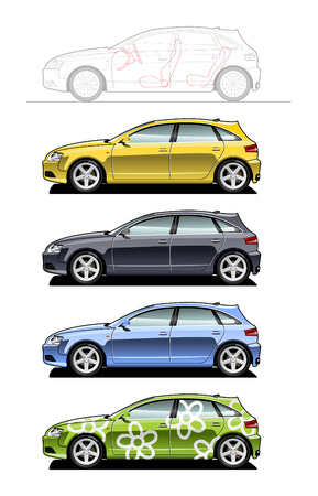 Hatchback. part of my collections  of Car body style. Simple gradients only - no gradient mesh Zdjęcie Seryjne - 6141679