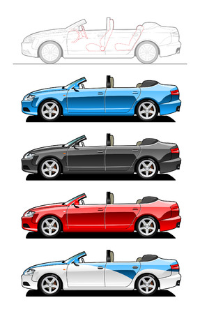 Convertible. part of my collections  of Car body style. Simple gradients only - no gradient mesh Illustration