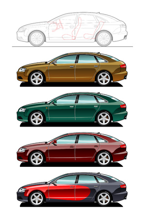 Liftback. part of my collections  of Car body style. Simple gradients only - no gradient mesh
