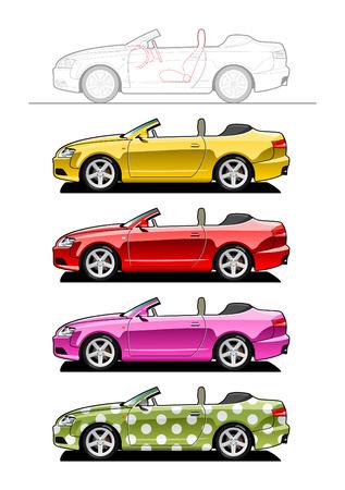 autom�vil caricatura: Convertible (dos puertas) Vectores